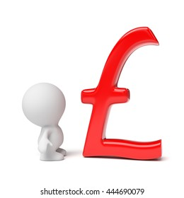 human person looking at red pound sign (3d illustration)