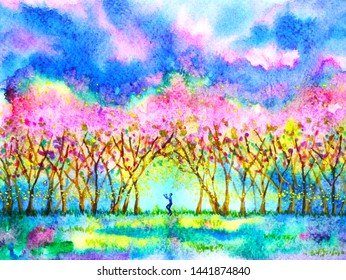 Human in pink cherry blossom forest spring season watercolor painting illustration hand drawn design background