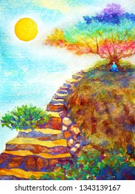 human powerful energy meditate under colorful tree rock stair blue sky watercolor painting illustration design hand drawn