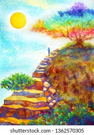human powerful energy thinking on rock stair under colorful tree and blue sky watercolor painting illustration design hand drawn