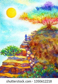 human powerful energy walking on rock stair under colorful tree and blue sky watercolor painting illustration design hand drawn