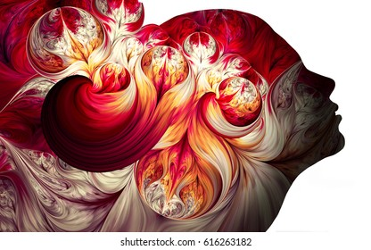 Human profiles executed in surreal painting style on the subject of dreams, passions, creativity and imagination.A state of euphoria and meditation. Abstract fractal patterns and shapes.