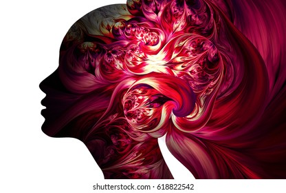 Human profiles executed in surreal painting style on the subject of dreams, passions, creativity and imagination.A state of euphoria and meditation. Girl with creative hairstyle from fractal flowers