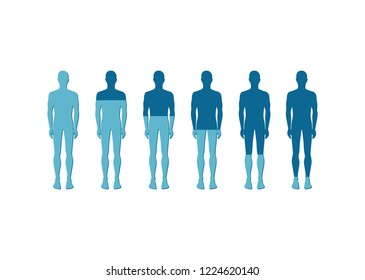 Human quantitative rate depiction with icon of six men in light and dark blue colors.  illustration for description of some issues of humanity
