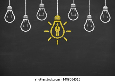 Human Resource Concepts on Blackboard Background