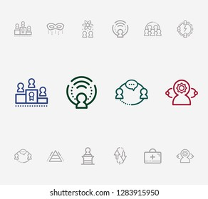 Human resource icon set and collective leadership with roles, hr and team abilities. Teamwork related human resource icon  for web UI logo design.