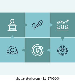 Human resource icon set and diversity of viewpoints with team goals, interview and leadership. Target related human resource icon  for web UI logo design.