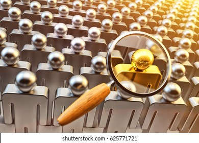 Human resource management, recruitment and hiring concept, magnifying glass above the crowd of people and chosen one gold person, 3d illustration