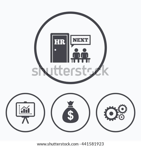 Human Resources Icons Presentation Board Charts Stock Illustration
