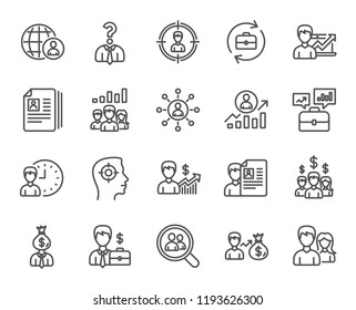 Human Resources line icons. Set of Business Networking, Job Interview and Head Hunting signs. CV, Teamwork and Portfolio symbols. Quality design element. Classic style. Editable stroke.