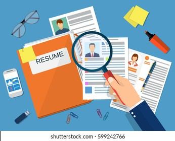 Human resources management concept, searching professional staff, work, analyzing resume, folder with documents. illustration in flat design Raster version.