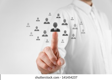 Human resources officer choose employee (successor) standing out of the crowd. Select team leader or assessment center concept. Gender discrimination in employees selection.