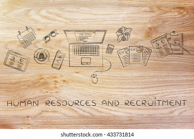 human resources & recruitment: recruiter desk with mixed resumes and shortlists for the job offer on laptop screen