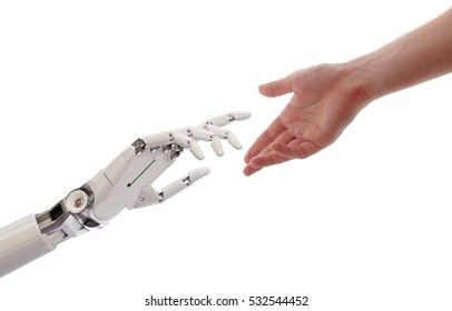 Human and Robot Hands Reaching Artificial Intelligence Concept 3d Illustration Isolated on White Background