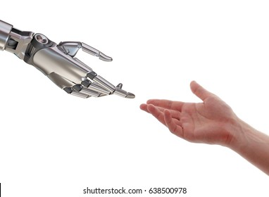 Human and Robot Touching Artificial Intelligence Partnership Concept 3d Illustration Isolated on White Background