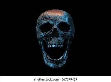 Human Scary Skull Locally Deformed in Rich colors in to the Black Background. Concept of death, horror. Spooky halloween symbol. Illustration of 3D rendering.