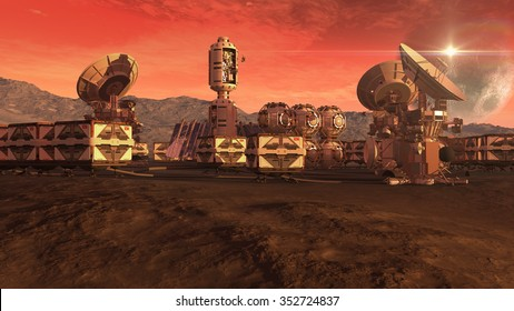 Human settlement on a Mars like red planet with spherical pods, crate containers and satellite dishes for planetary exploration backgrounds. Elements of this image furnished by NASA.