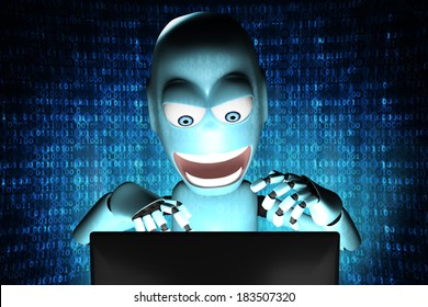 A human shaped Robot with bad intentions in front of a computer