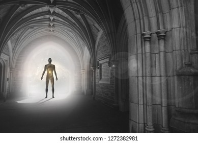 Human silhouette with universe inside stands in Gothic archway with light illuminating the path. Messenger from other worlds. 3D rendering