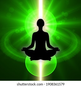 Human silhouette in yoga pose and meditation sitting