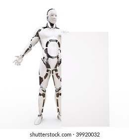 Human similar robot with a white board
