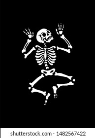 The human skeleton is dancing. illustration for halloween. Black background. For greeting cards, invitations, for printing on T-shirts and more.
