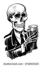 Human skeleton drinking beer. Ink black and white drawing