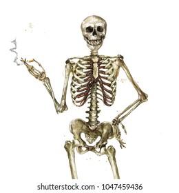 Human Skeleton holding cigarette. Watercolor Illustration.