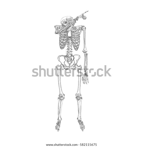 Human skeleton making DAB, perform dabbing dance move gesture, posing on white background. Raster.