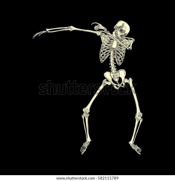 Human skeleton posing DAB, perform dabbing dance move gesture, posing on black background. Raster.