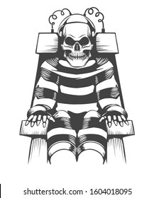 Human Skeleton sits on Electric Chair. Judgement and punishment concept in tattoo style.