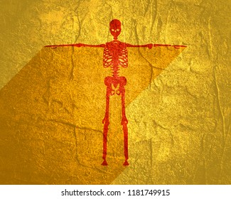 Human skeleton standing. Halloween party design template. Web icon with long shadow