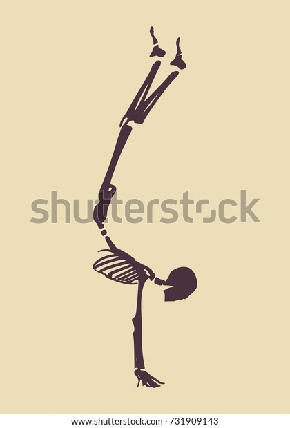 Human skeleton working out, doing handstand. Halloween party design template