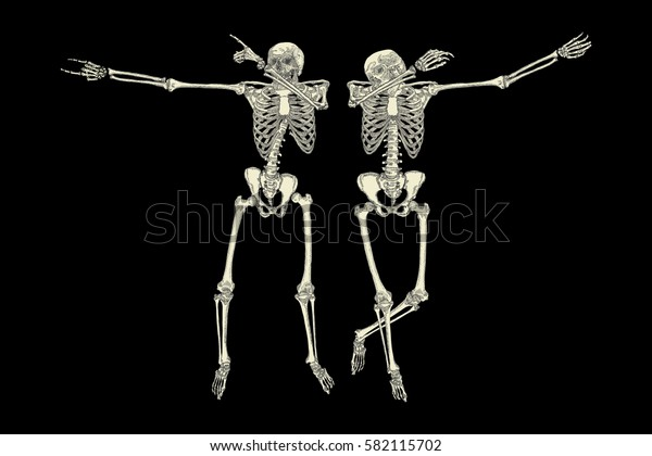 Human skeletons dancing DAB like friends, perform dabbing move gesture in group, posing isolated on black background,  Raster.