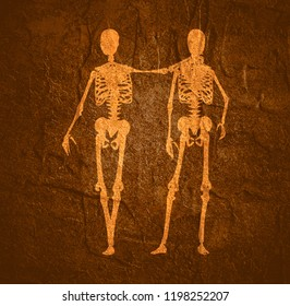 Human skeletons standing and hugging. Halloween party design template. Friends embrace