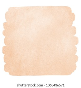 Human skin, foundation color watercolor background with stains and rounded edges. Natural, rose beige painted watercolour texture, brush stroke shape. Pastel, soft, light brown aquarelle template.