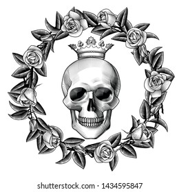 Human skull in crown with a wreath of roses. Vintage color engraving stylized drawing.