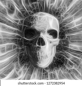 Human Skull Design in Black and White Colors. 3D rendering