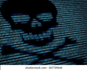 Human skull in digital background / Concept of network security, cyber attack,  computer virus, ransomware