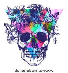 Human skull and flower wreath. Los muertos. Raster illustration.