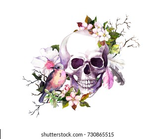 Human skull with flowers (cherry blossom), feathers and bird for Day of the Death. Watercolor