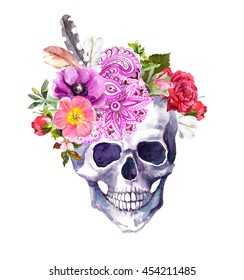 Human skull with flowers, ornamental decor and feathers in vintage boho style. Watercolor