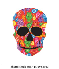 Human skull head silhouette with paisley floral owl colorful pattern front profile illustration