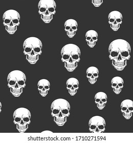 Human skull seamless pattern background sketch engraving raster illustration. T-shirt apparel print design. Scratch board imitation. Black and white hand drawn image.