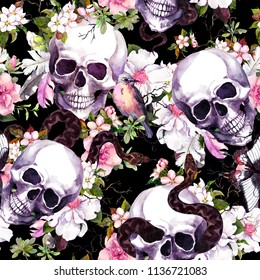 Human skulls with flowers, butterflies, birds, snake. Seamless pattern on black background. Watercolor for Halloween design