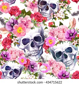 Human skulls with flowers for Dia de Muertos holiday. Seamless pattern. Watercolor