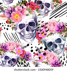 Human skulls with flowers for Halloween, Dia de Muertos holiday. Artistic seamless pattern with random memphis mix of hand pinted lines and dots. Watercolor