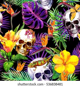 Human skulls, tropical leaves, animals, exotic flowers. Repeating pattern at black background. Watercolor
