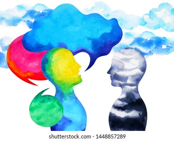 human speaking and listening power of mastermind together inside your mind, watercolor painting hand drawn