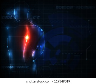 Human spine ache abstract background